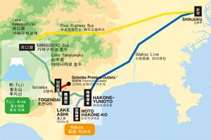 mappa stradale monte fuji