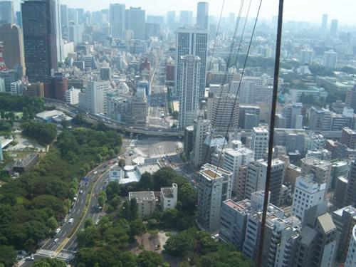 incrocio stradale a stella che si nota guardandolo dalla Tokyo Tower