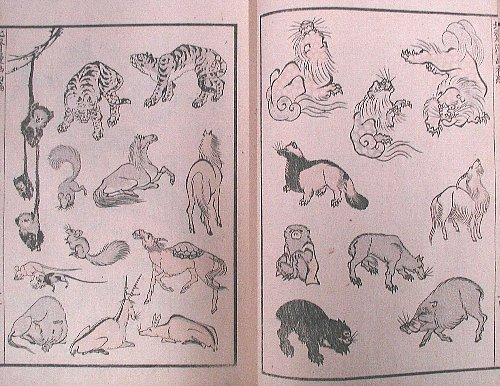 Hokusai manga Animals