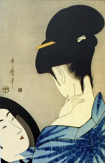 Utamaro, bellezza che si guarda allo specchio