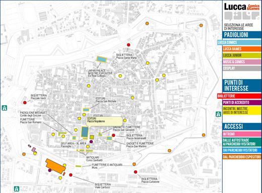Lucca comics mappa piazza napoleone