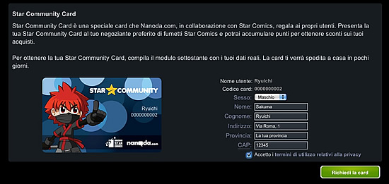 Ottieni la star community card