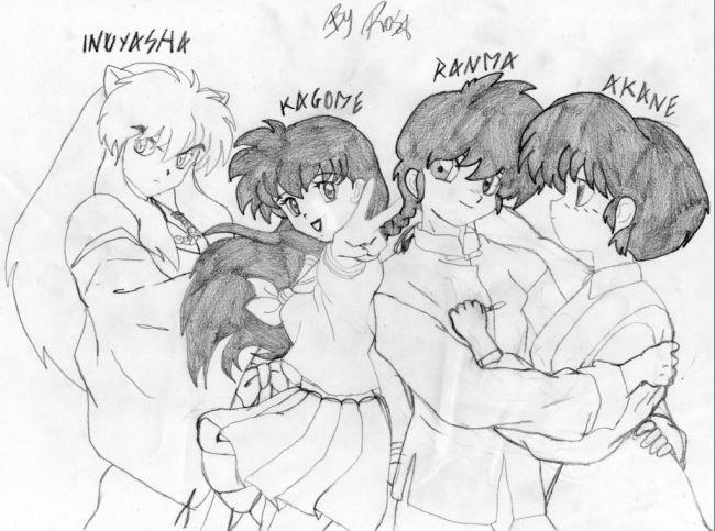 inuyasha, kagome, ranma and akane